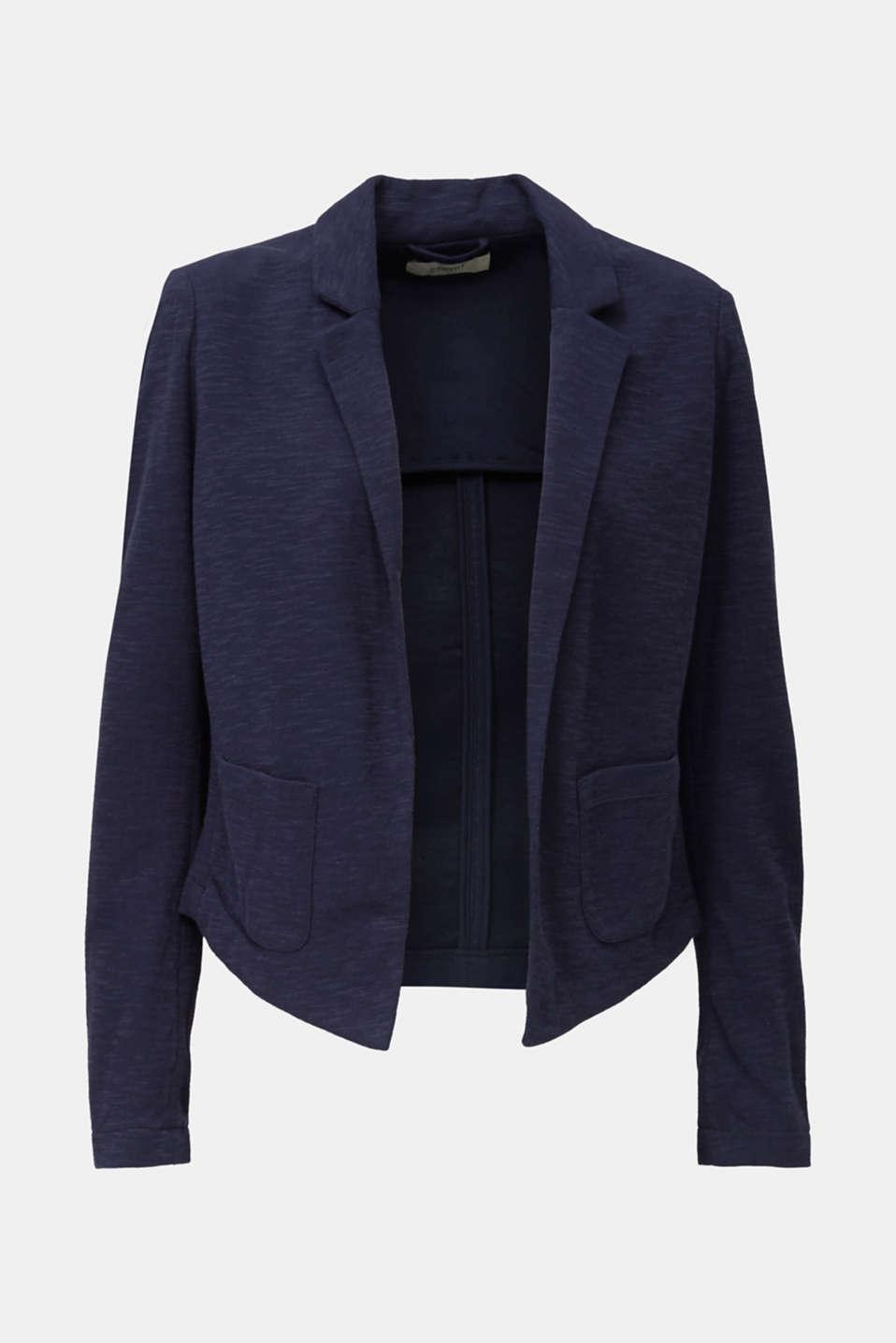 Short slub jersey blazer, NAVY, detail image number 6