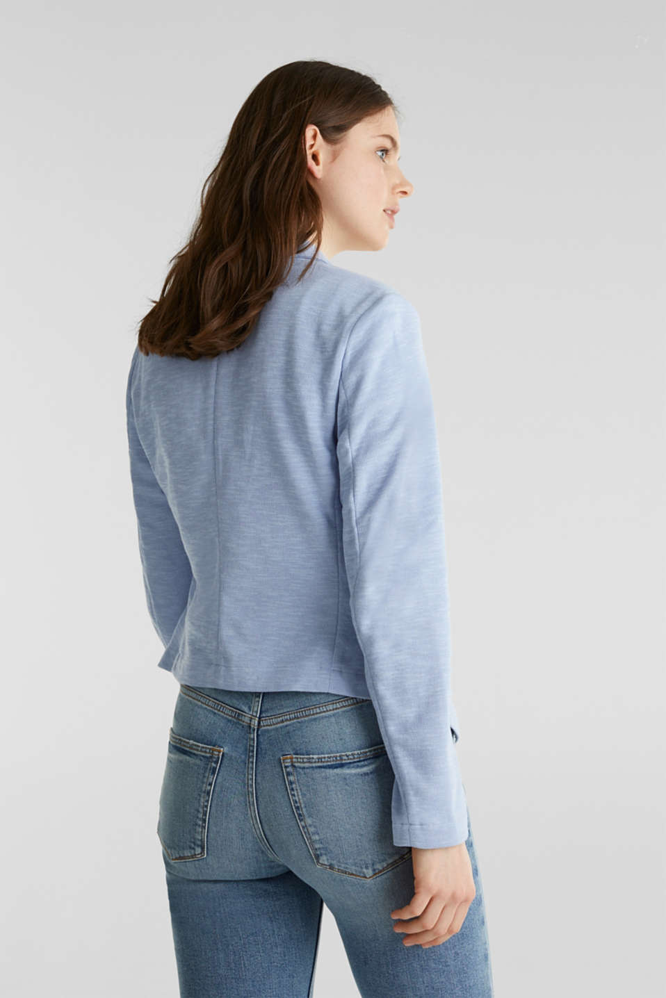 Short slub jersey blazer, LIGHT BLUE, detail image number 3