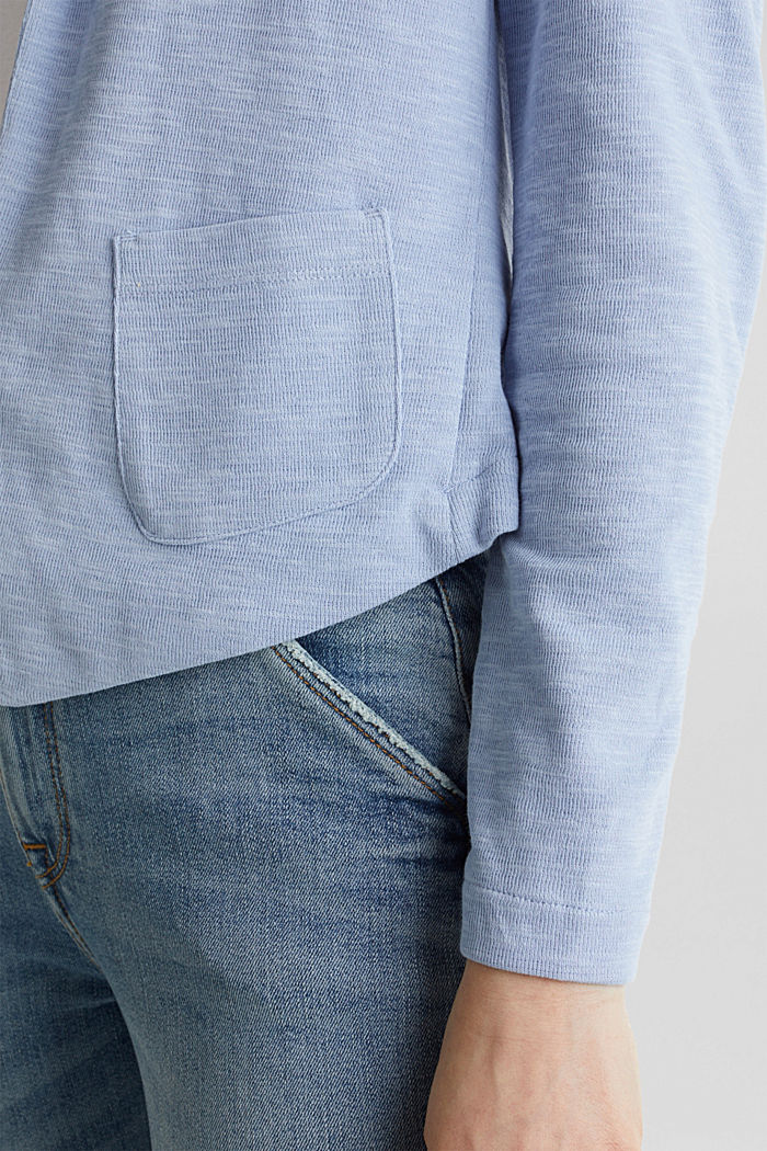 Kurz-Blazer aus Slub-Jersey, LIGHT BLUE, detail image number 2