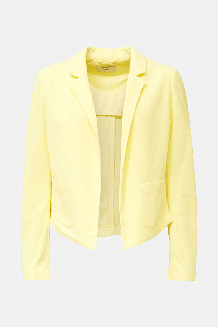 Kurz-Blazer aus Slub-Jersey, LIME YELLOW, overview