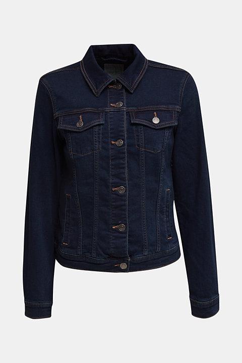 Denim jacket in soft denim tracksuit fabric