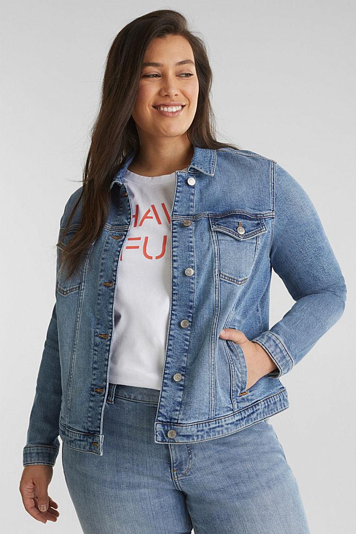 CURVY denim jacket in a basic style, BLUE MEDIUM WASHED, detail image number 0