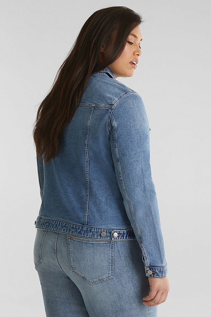 CURVY denim jacket in a basic style, BLUE MEDIUM WASHED, detail image number 3