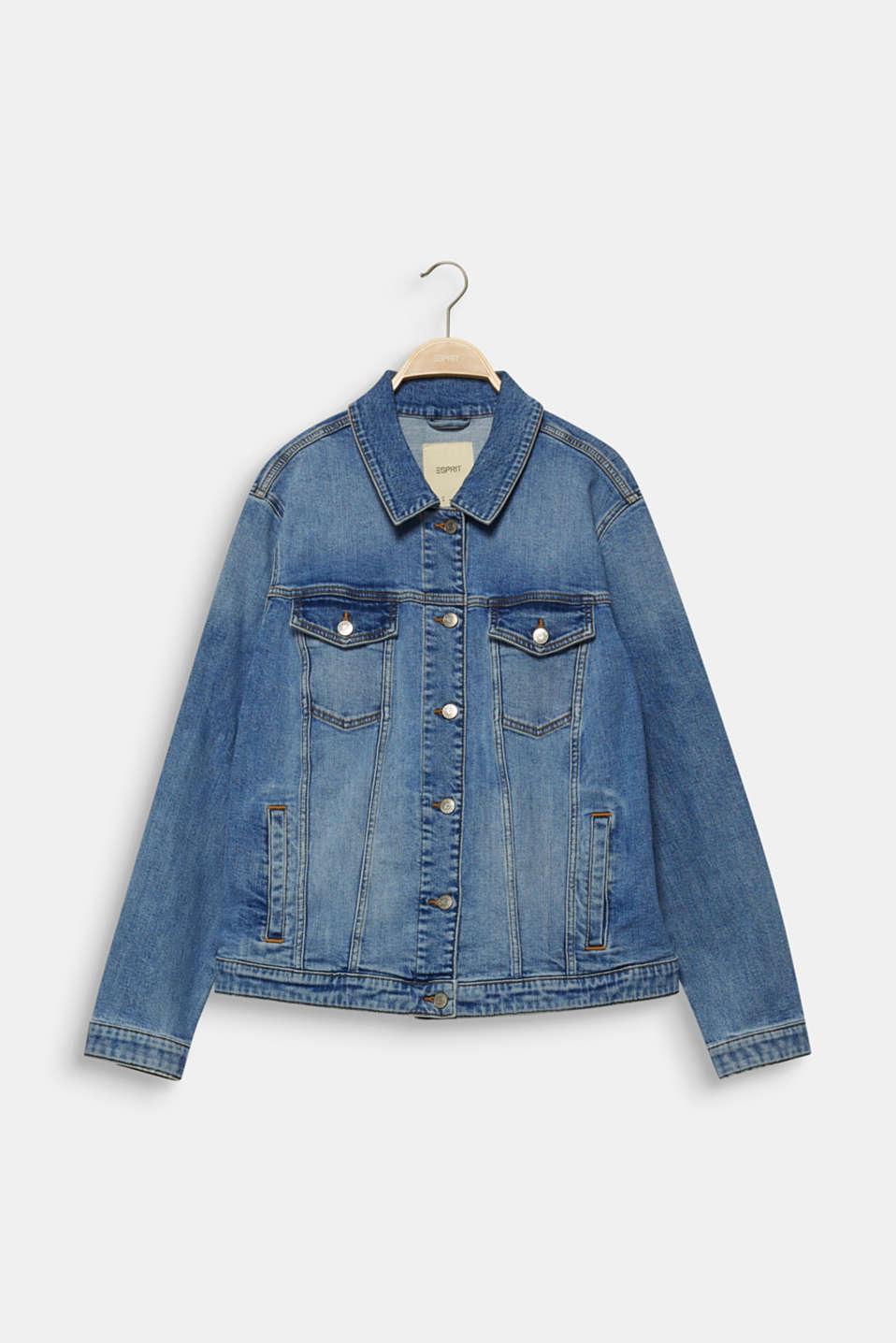 CURVY denim jacket in a basic style, BLUE MEDIUM WASH, detail image number 7