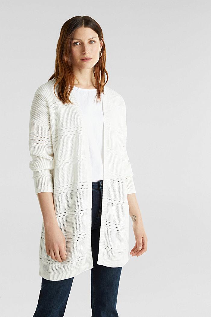 Häkel-Cardigan, 100% Organic Cotton, OFF WHITE, detail image number 0