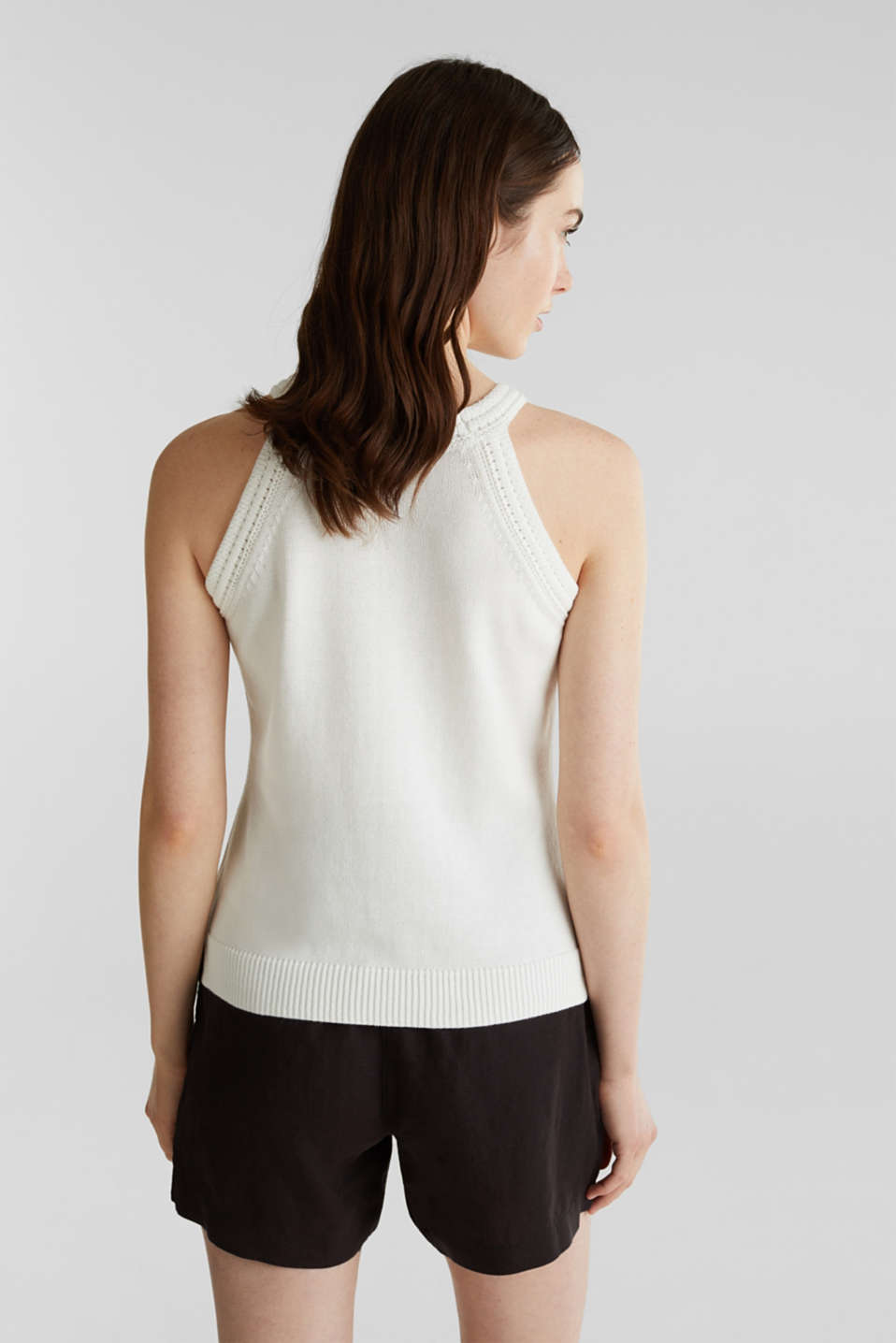 Knitted top made of 100% organic cotton, OFF WHITE, detail image number 3