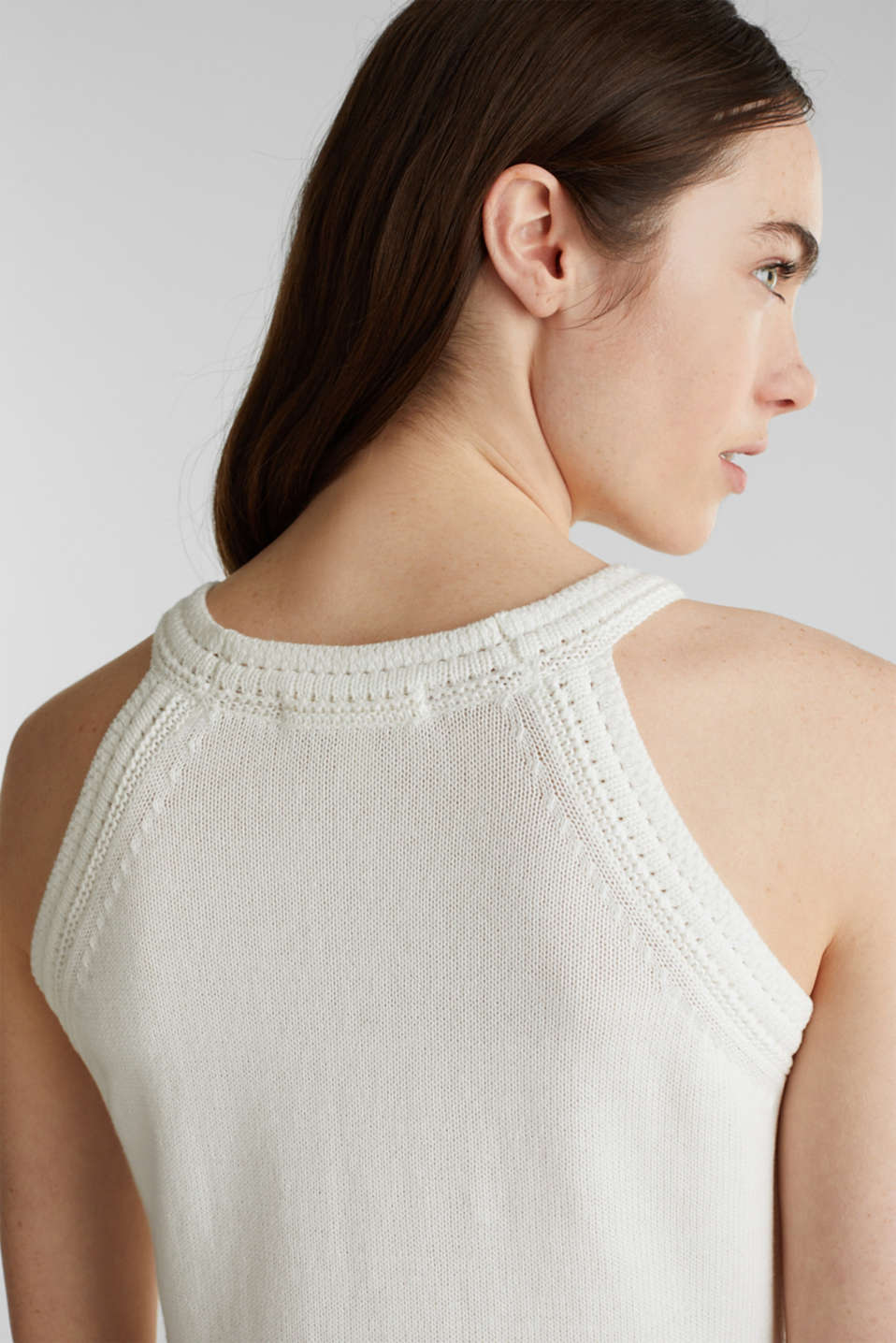 Knitted top made of 100% organic cotton, OFF WHITE, detail image number 5