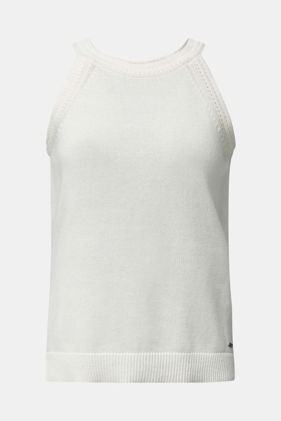 Knitted top made of 100% organic cotton, OFF WHITE, detail image number 7