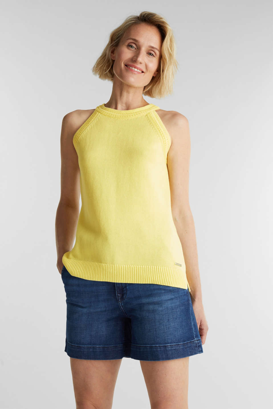 Knitted top made of 100% organic cotton, LIME YELLOW, detail image number 0