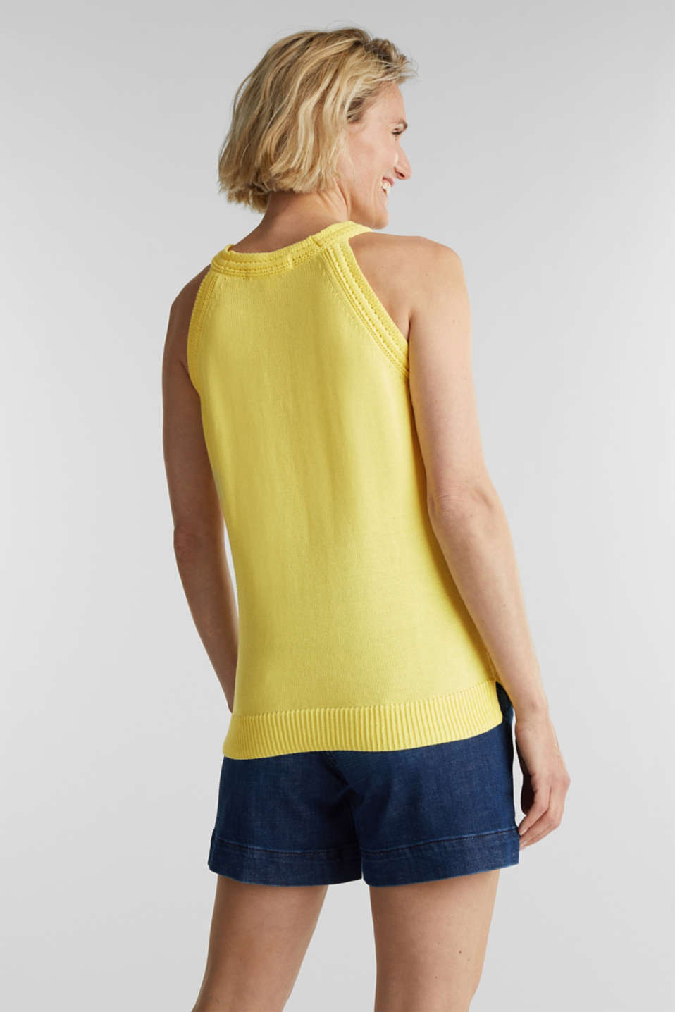Knitted top made of 100% organic cotton, LIME YELLOW, detail image number 3