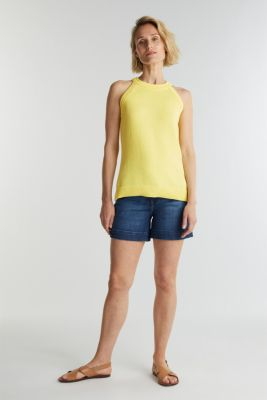 Knitted top made of 100% organic cotton, LIME YELLOW, detail