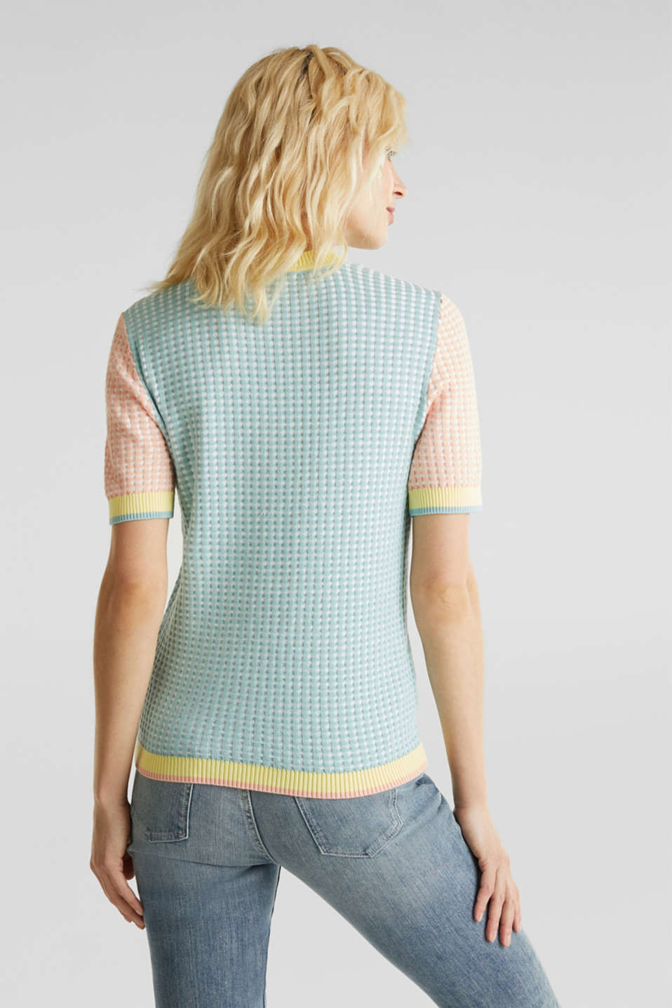 Short-sleeved jumper in a colour block style, LIGHT AQUA GREEN 4, detail image number 3