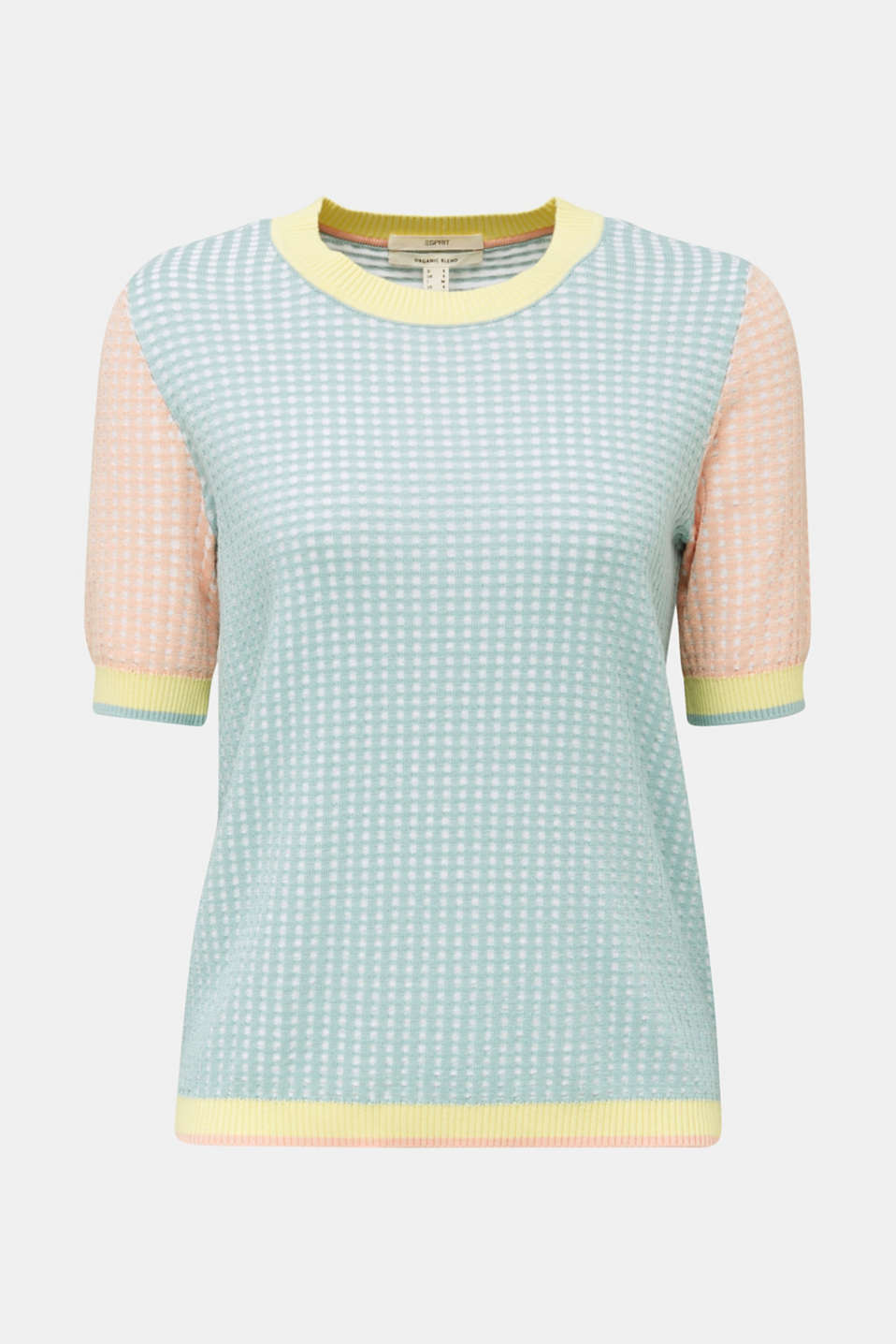 Short-sleeved jumper in a colour block style, LIGHT AQUA GREEN 4, detail image number 5