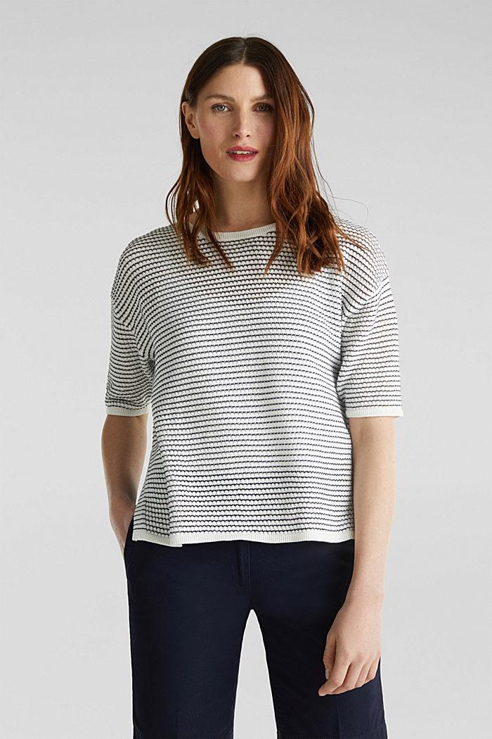 Short-sleeved jumper, organic cotton, OFF WHITE, detail image number 0