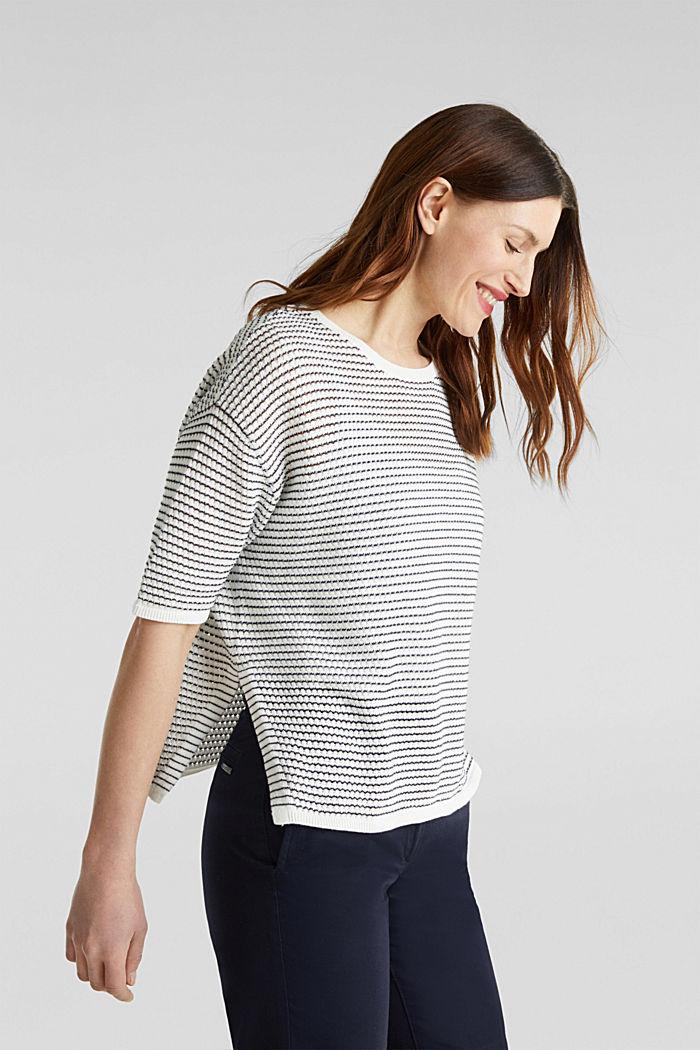 Short-sleeved jumper, organic cotton, OFF WHITE, detail image number 4