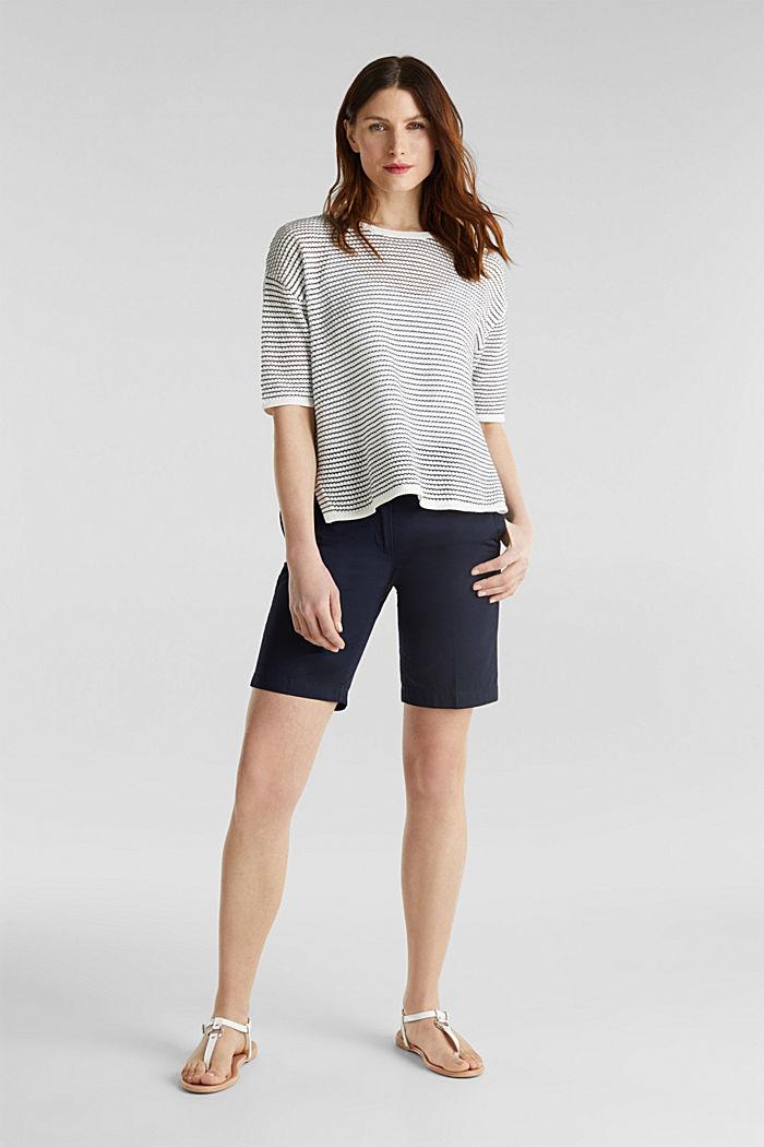 Short-sleeved jumper, organic cotton, OFF WHITE, detail image number 1