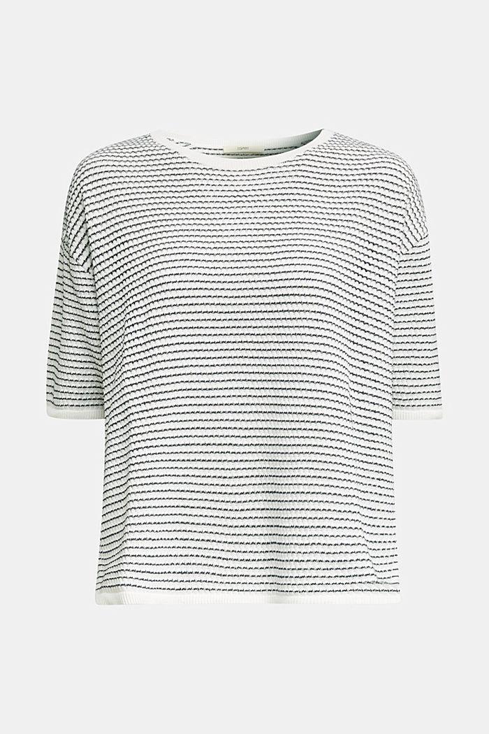 Short-sleeved jumper, organic cotton, OFF WHITE, detail image number 6