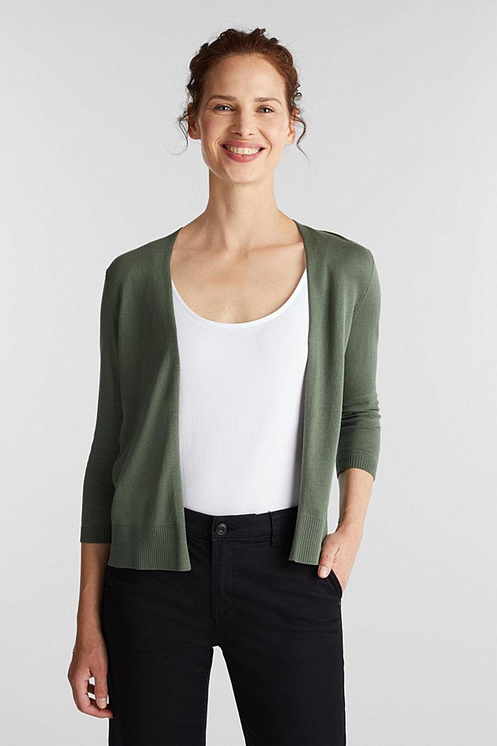 Cardigan made of 100% organic cotton, KHAKI GREEN, detail image number 0