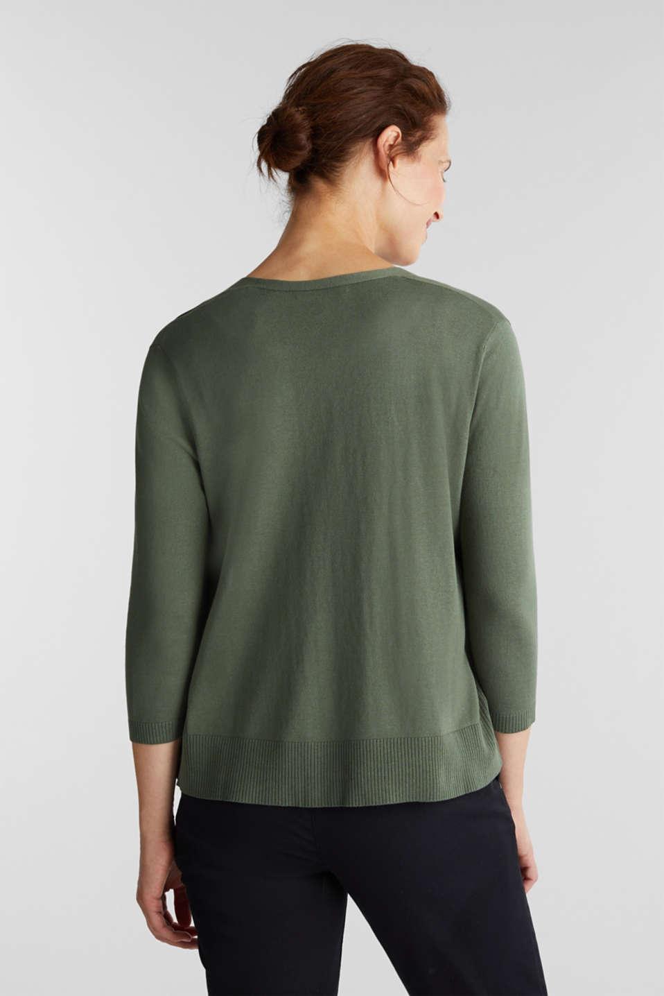 Cardigan made of 100% organic cotton, KHAKI GREEN, detail image number 3