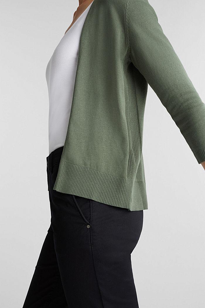 Cardigan made of 100% organic cotton, KHAKI GREEN, detail image number 2