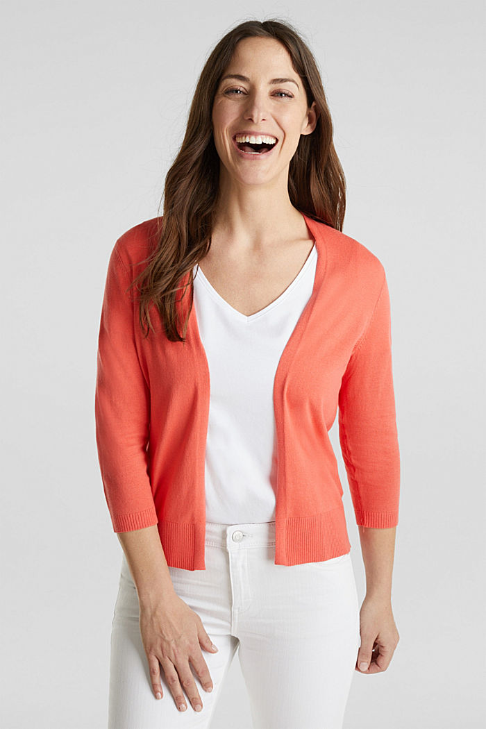 Cardigan aus 100% Organic Cotton, CORAL, detail image number 0