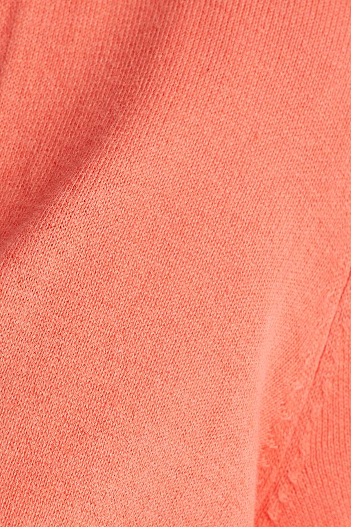 Cardigan aus 100% Organic Cotton, CORAL, detail image number 4