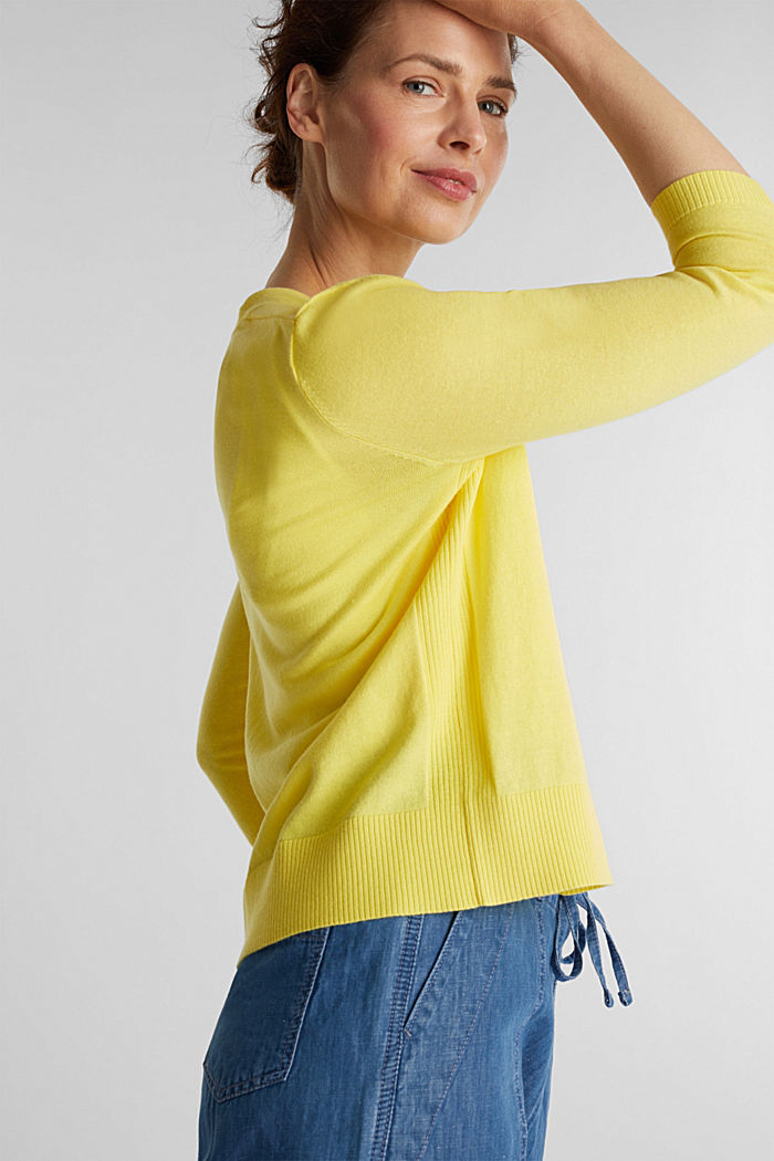 Cardigan made of 100% organic cotton, BRIGHT YELLOW, detail image number 5