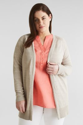 CURVY With linen: slub cardigan, BEIGE, detail