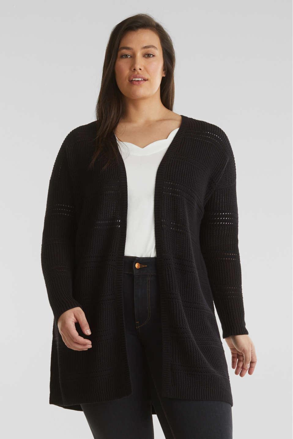 Curvy cardigan, organic cotton, BLACK, detail image number 0