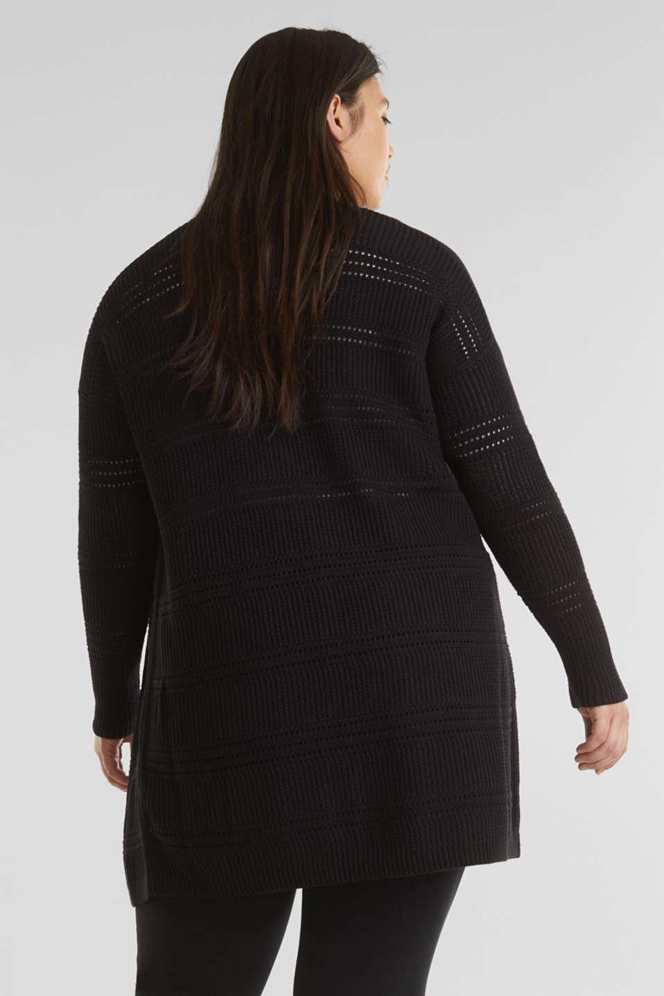 Curvy cardigan, organic cotton, BLACK, detail image number 3