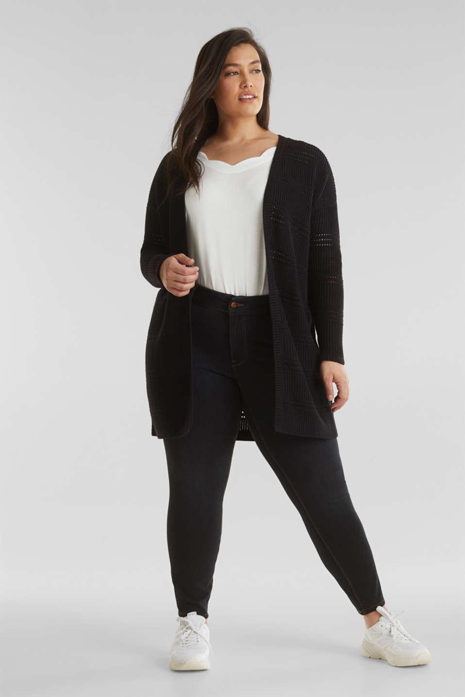 Curvy cardigan, organic cotton, BLACK, detail image number 1