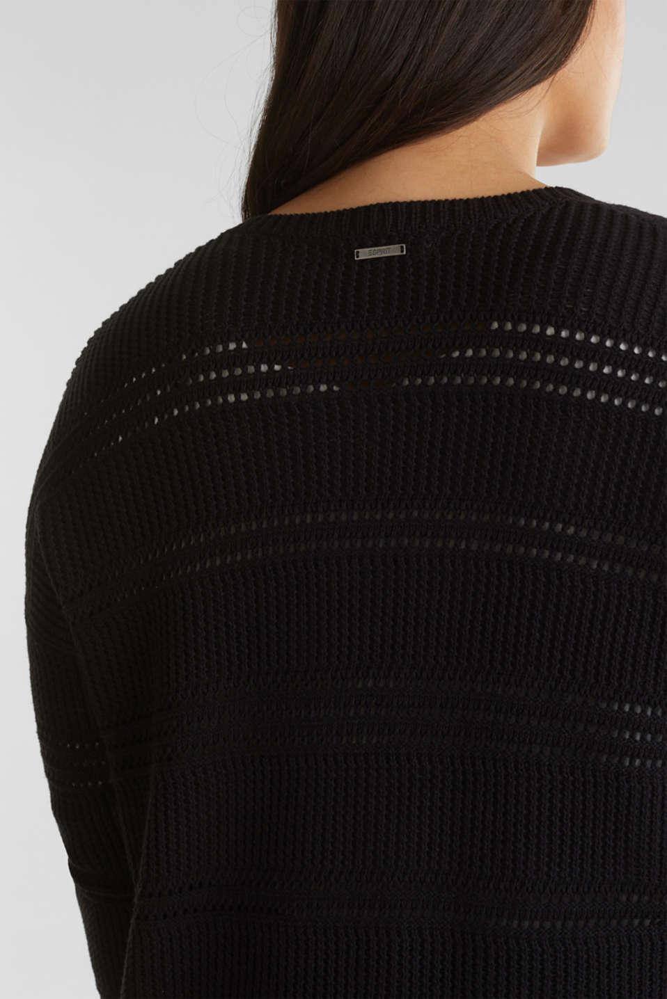 Curvy cardigan, organic cotton, BLACK, detail image number 5