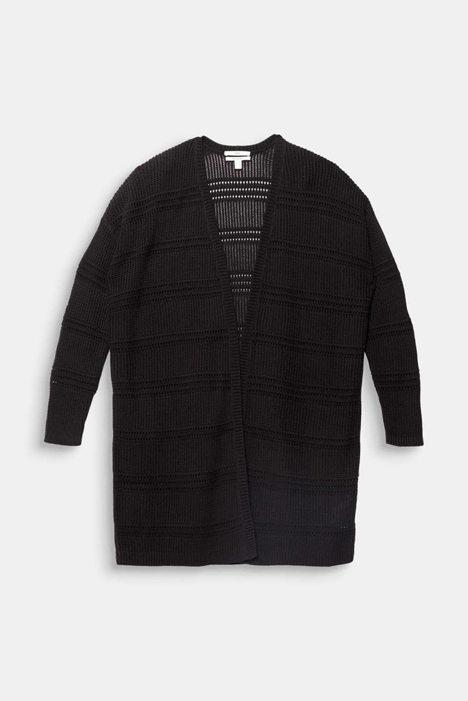 Curvy cardigan, organic cotton, BLACK, detail image number 6