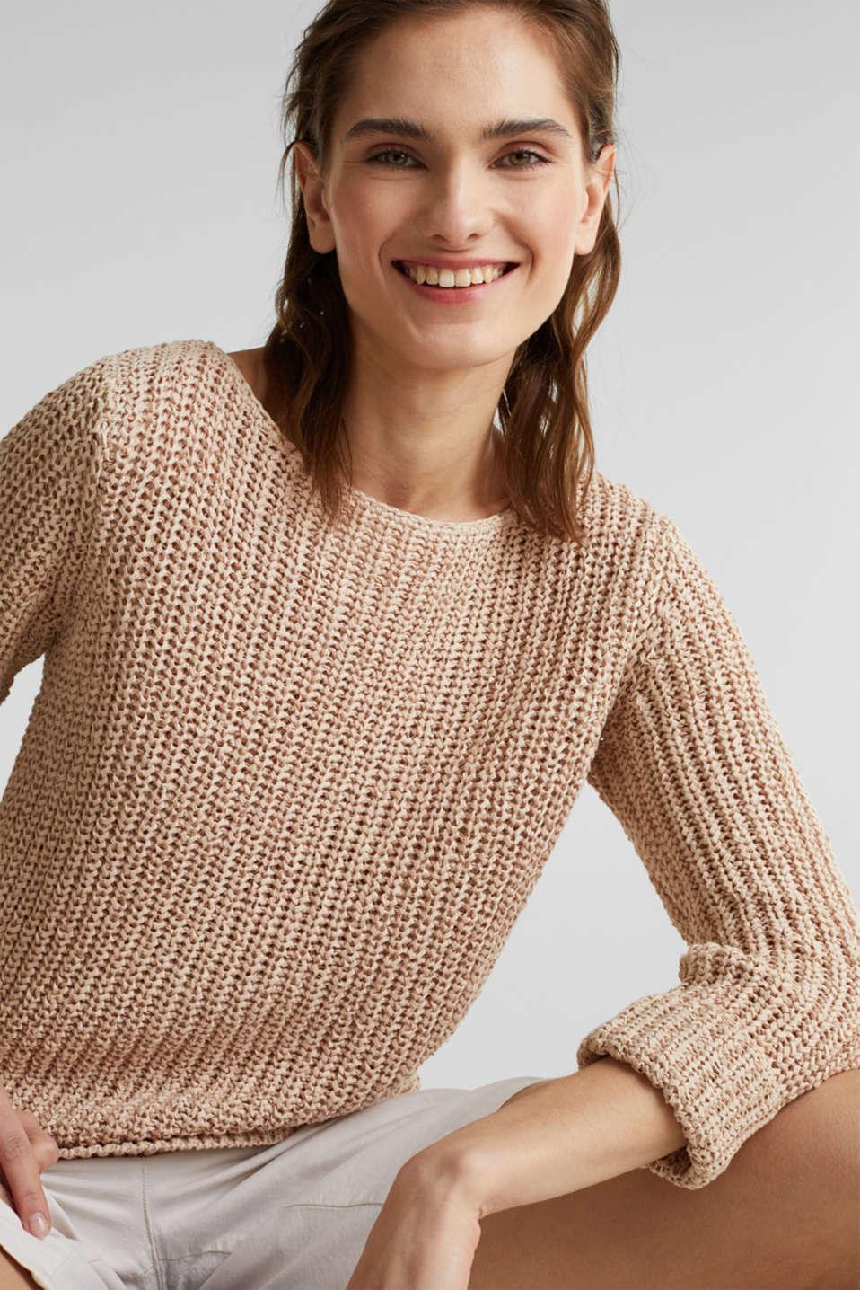 Ribbon yarn jumper, LIGHT BEIGE, detail image number 0