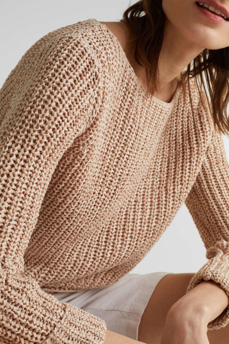 Ribbon yarn jumper, LIGHT BEIGE, detail image number 2