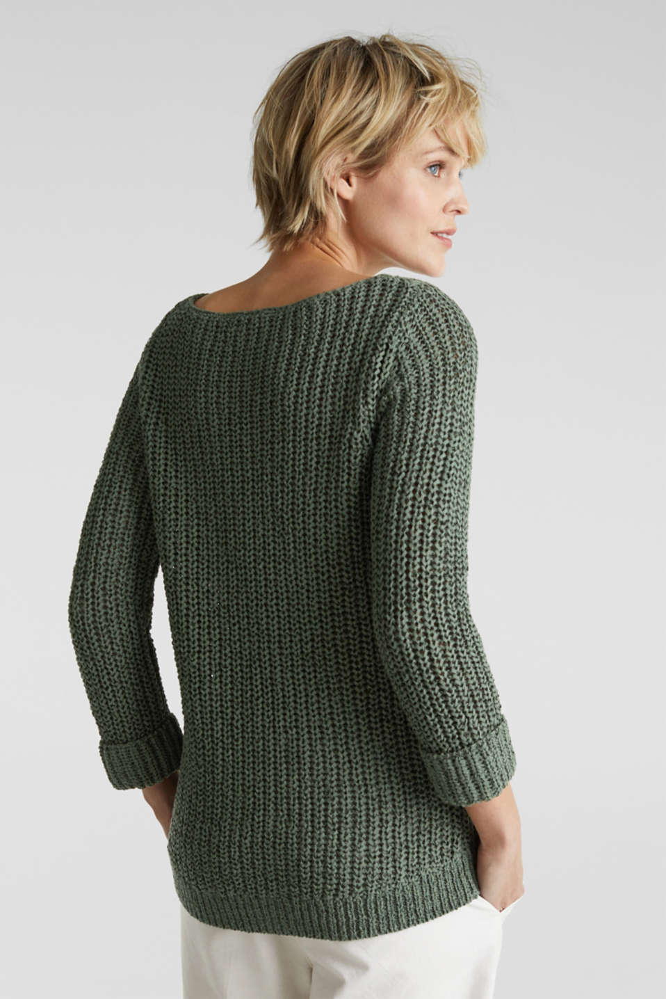 Ribbon yarn jumper, KHAKI GREEN, detail image number 2