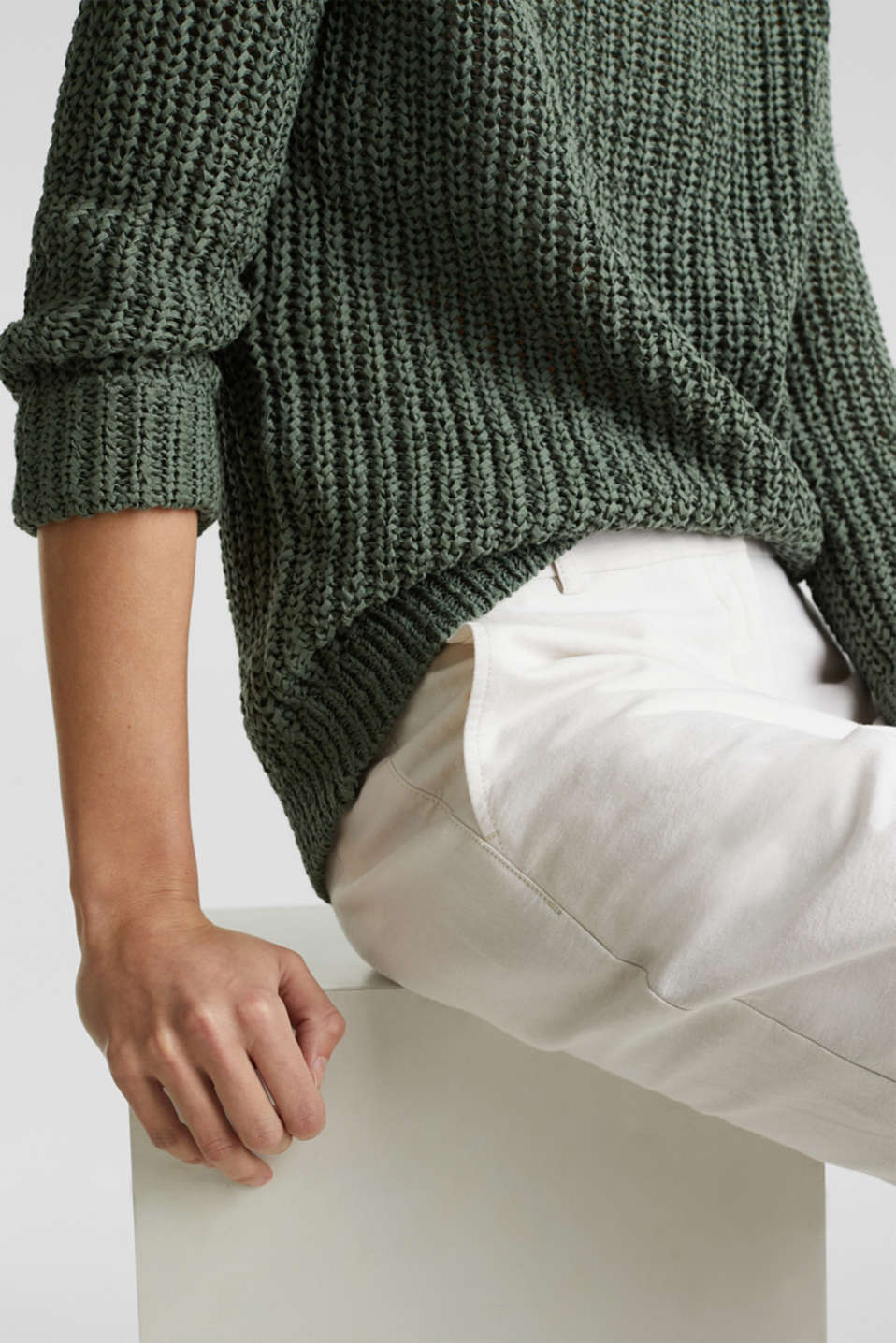 Ribbon yarn jumper, KHAKI GREEN, detail image number 4