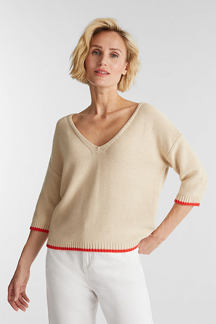 Pullover mit V-Ausschnitt, 100% Baumwolle, LIGHT BEIGE, detail image number 0