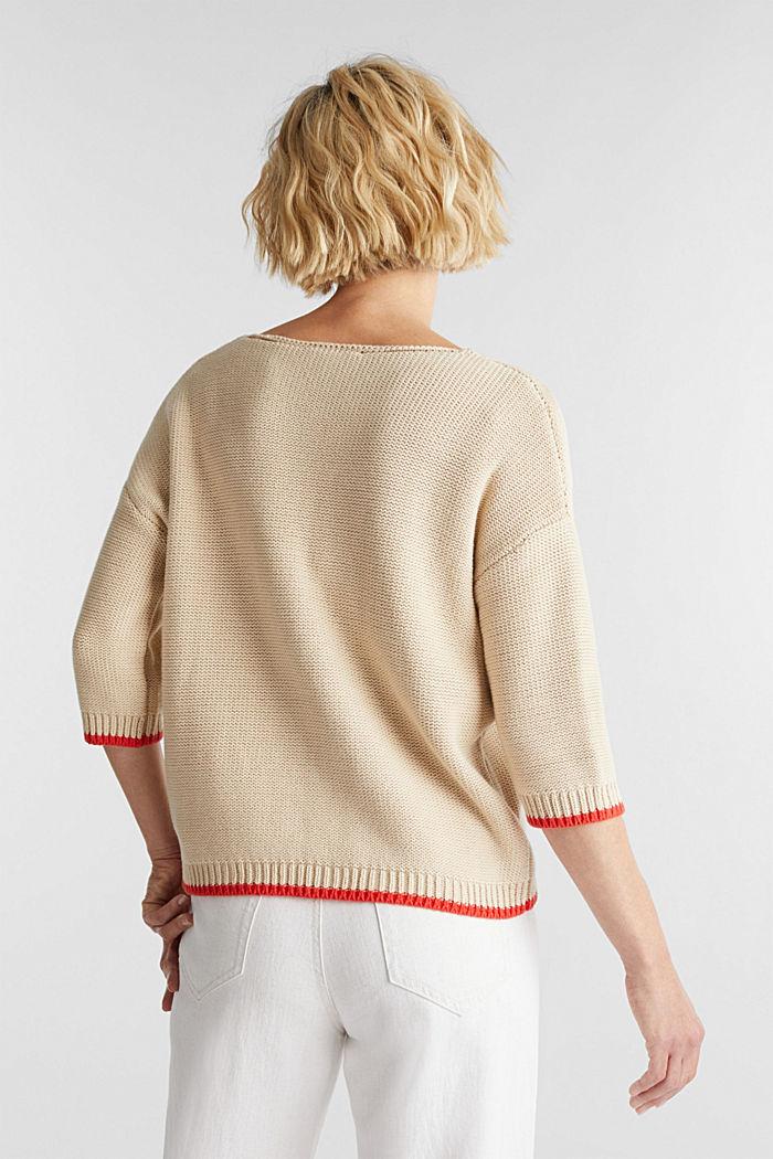 Jumper with a V-neck, 100% cotton, LIGHT BEIGE, detail image number 3