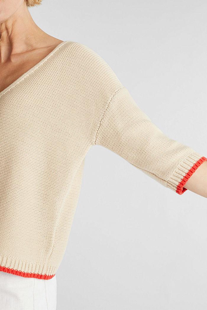 Jumper with a V-neck, 100% cotton, LIGHT BEIGE, detail image number 2