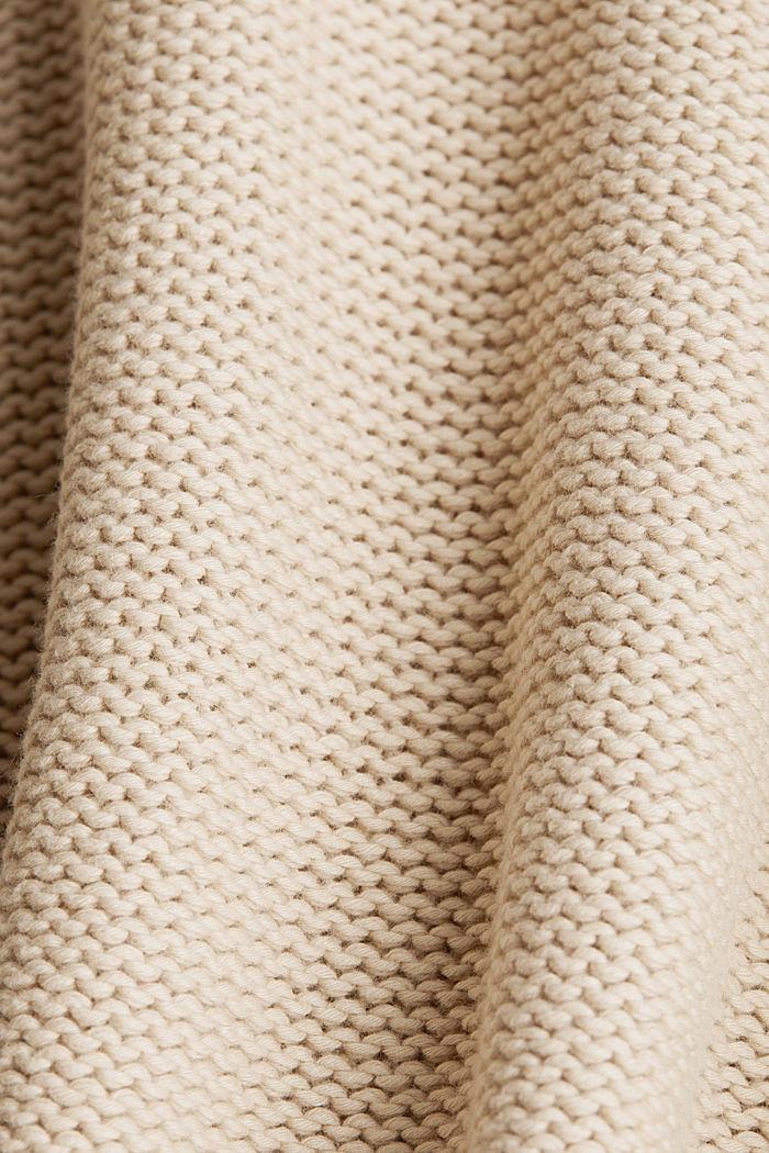 Jumper with a V-neck, 100% cotton, LIGHT BEIGE, detail image number 4