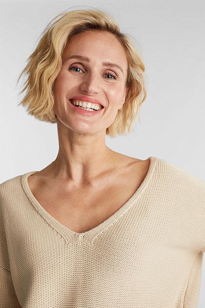 Pullover mit V-Ausschnitt, 100% Baumwolle, LIGHT BEIGE, detail image number 5