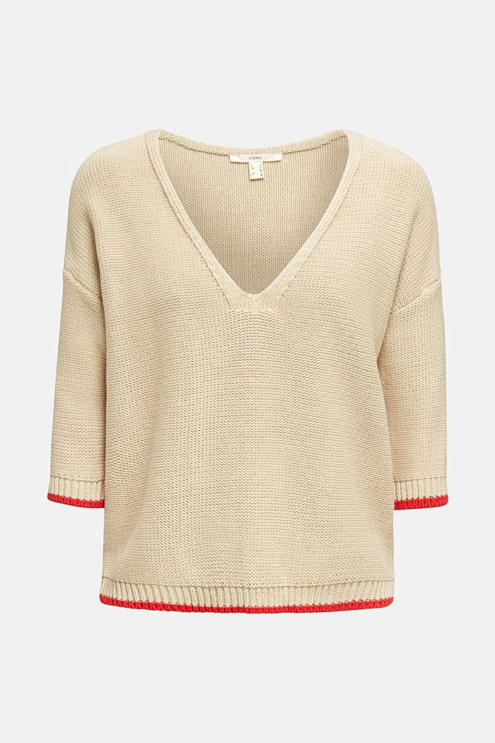 Jumper with a V-neck, 100% cotton, LIGHT BEIGE, detail image number 6