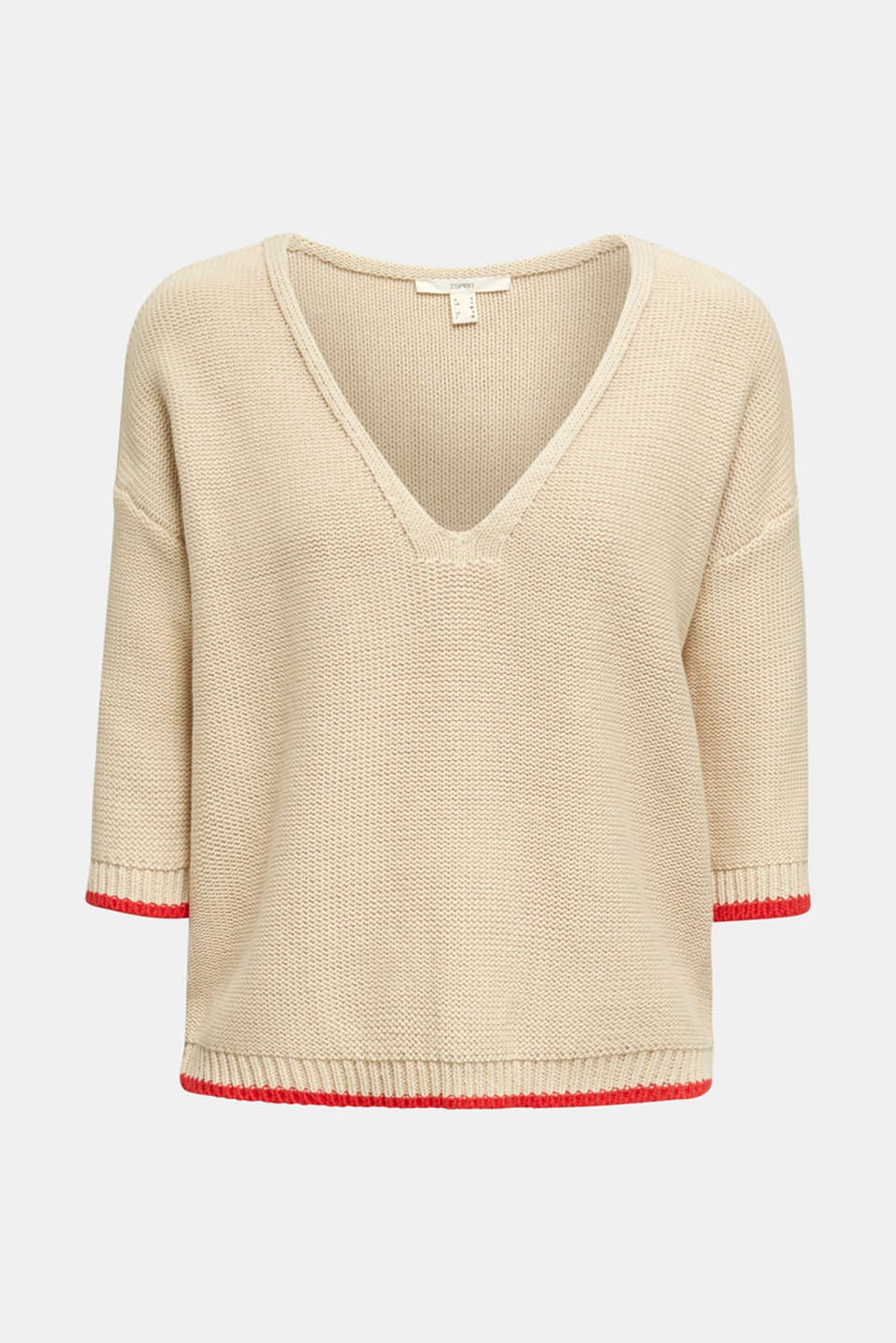 Jumper with a V-neck, 100% cotton, LIGHT BEIGE, detail image number 6