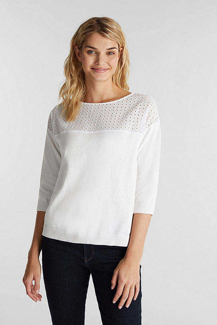 Jumper with broderie anglaise, 100% cotton, WHITE, detail image number 0