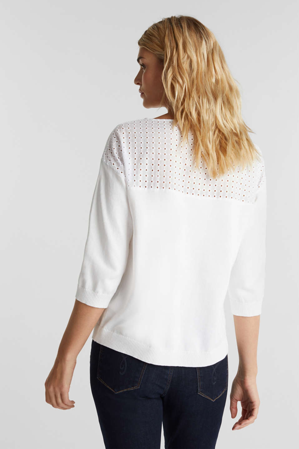 Jumper with broderie anglaise, 100% cotton, WHITE, detail image number 2
