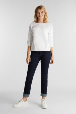 Jumper with broderie anglaise, 100% cotton, WHITE, detail