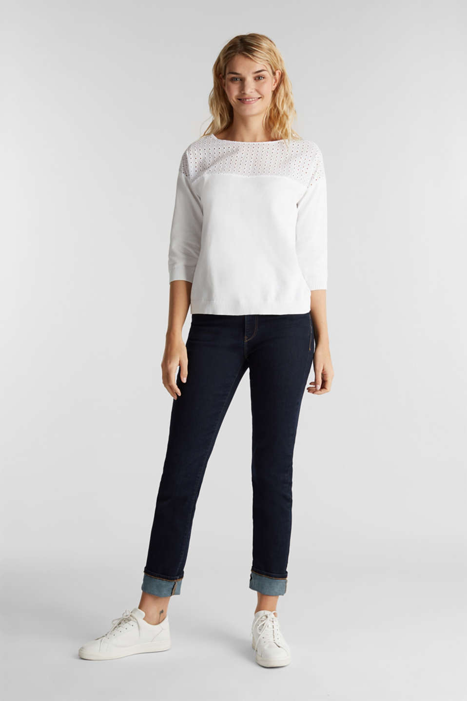 Jumper with broderie anglaise, 100% cotton, WHITE, detail image number 1