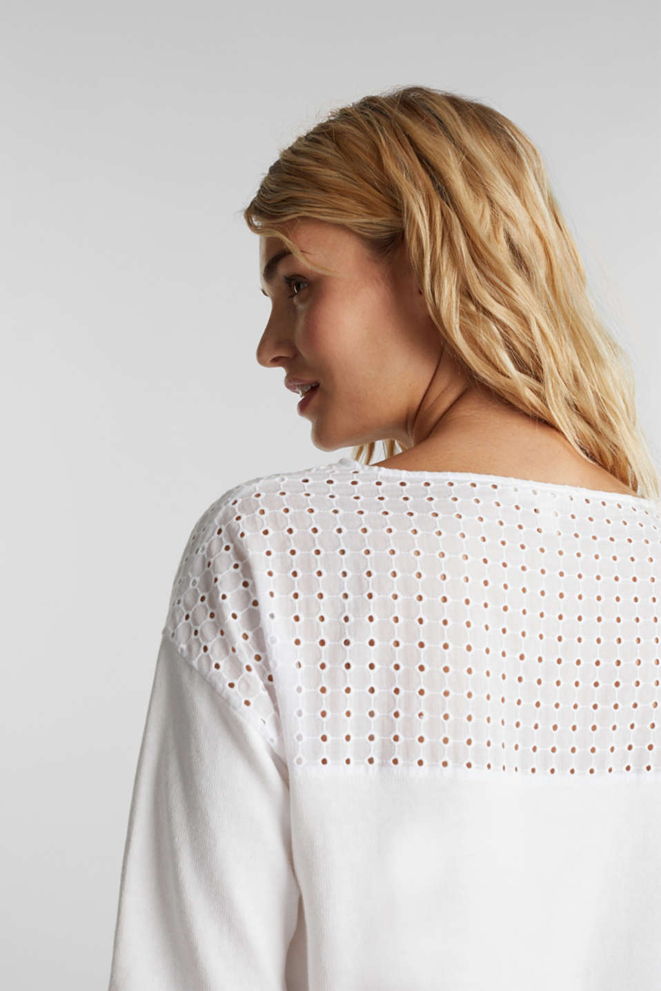Jumper with broderie anglaise, 100% cotton, WHITE, detail image number 4