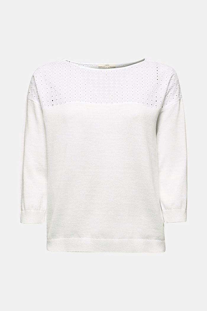 Jumper with broderie anglaise, 100% cotton, WHITE, detail image number 5